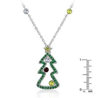 White Gold Rhodium Bonded Christmas Tree Pendant with Garnet, Green, Yellow Crystal Decorations in Silvertone