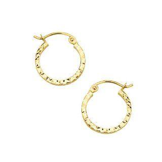 14K Yellow Gold Polished 1.5mm & 20mm Diameter Square Tube Diamond Cut Hoop Earrings Reeve and Knight Jewelry