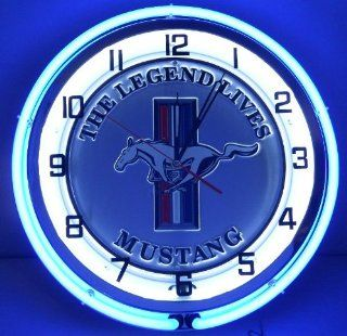 "Ford Mustang The Legend Lives Pony & Bar Logo 18"" Double Neon Lighted Clock Oval Emblem Garage Silver/Blue Sign   Electrical Outlet Switches"