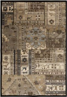 6.6' x 9.5' Persian Patchwork Brown and Sky Blue Area Throw Rug   Machine Made Rugs