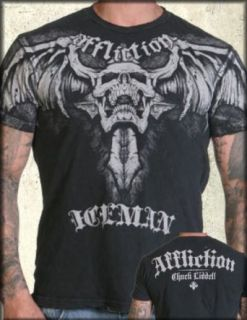 Affliction Chuck Liddell THE ICEMAN Signature UFC Short Sleeve Tee Shirt Black Lava Wash   TO XXXL Clothing