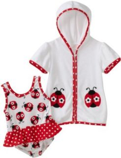 Kids Headquarters Baby girls Infant Ladybug Swimwear with Cover Up, White/Red, 18 Months Clothing