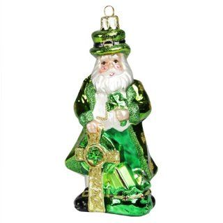 "5.25"" Noble Gems Luck of the Irish Green Leprechaun Santa Glass Christmas Ornament   Decorative Hanging Ornaments"