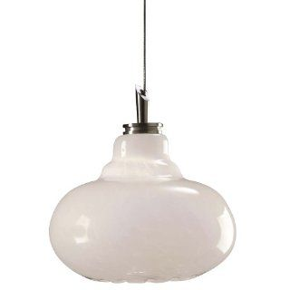 PLC Lighting 349 WHITE 1 Light Genie Collection Mini Pendant, Satin Nickel Finish   Ceiling Pendant Fixtures