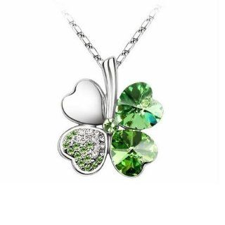 "Peridot Green   Swarovski elements crystal four leaf clover pendant necklace 19"" with a gift box   TribalSensationTM Jewelry"