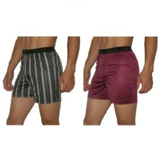 2 PACK Mens Claiborne Soft & Comfortable Button Fly Boxer Shorts / Underwear   Black & Wine Red (Size L(36 38)) at  Men�s Clothing store