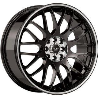 RUFF RACING R 355 Machined Lip. 18 Inch Black Matte Rims Automotive