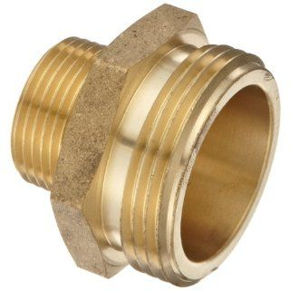 "Moon 358 1061521 Brass Fire Hose Adapter, Nipple, 1"" NPT Male x 1 1/2"" NH Male"