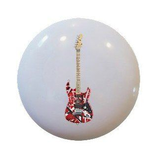 Red Guitar Ceramic Knobs Pulls Kitchen Drawer Cabinet Vanity Closet 359   Cabinet And Furniture Knobs
