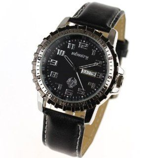 INFANTRY Military Army Quartz Analog Date&Day Display Mens Wrist Watch Black Leather #IN 003 S L Watches