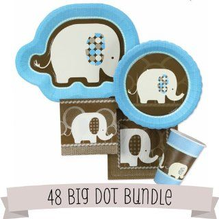 Blue Baby Elephant   Baby Shower Tableware   48 Big Dot Bundle Toys & Games