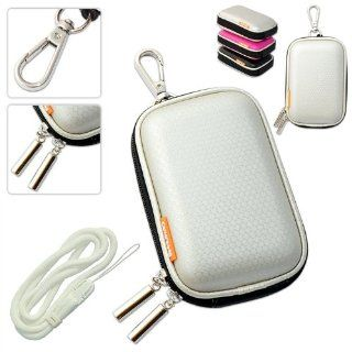 New first2savvv outdoor heavy duty silver camera case for OLYMPUS FE 360 FE 370 FE 4000 FE 4030 FE 4050 FE 45 FE 46 FE 47 FE 5000 FE 5020 with white camera hand strap  Camera & Photo