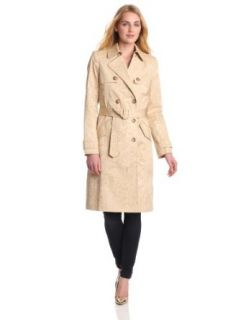 Anne Klein Women's Tonal Print Trench Coat, Suntan Multi, X Small Clothing