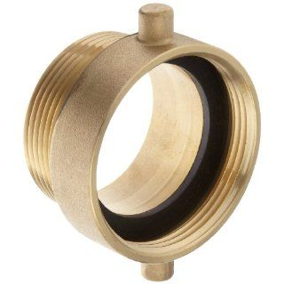 "Moon 369 2522561 Brass Fire Hose Adapter, Pin Lug, 2 1/2"" NH Female x 2 1/2"" NPT Male Fire Hose Fittings"