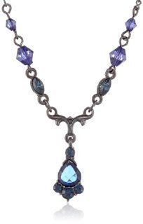1928 Jewelry Vintage Inspired Royal Blue Crystal Drop Necklace Jewelry