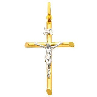 14K Yellow and White Gold 2 Two Tone Gold Crucifix Cross Charm Pendant The World Jewelry Center Jewelry