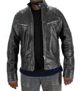 Leather Outfitters Men Bomber Leather Jacket (XXXXXX Large, Blue) Clothing