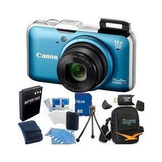 "Canon Powershot SX230 HS Digital Camera (Blue) 12.1MP CMOS Sensor, 14x 28 392mm Super Telephoto Zoom Lens, Built In GPS, 3"" High Res LCD Monitor. Kit Includes 16 GB Memory Card, Card Reader, Battery Pack, Carrying Case, Mini Tripod, and More. Camera"