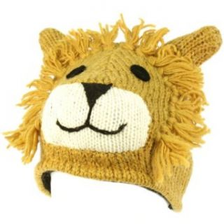 100% Wool Nepal Winter Cute Lion w Ears Animal Fleece Lined Beanie Ski Cap Hat Clothing