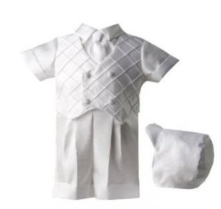 Lauren Madison baby boy Christening Baptism Special occasion Infant Shantung Boxer Short With Diamond Pleated Double Breasted Vest, White, 9 12 Months Clothing