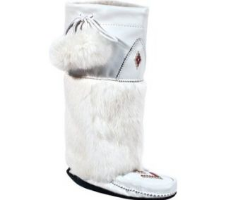 Manitobah Mukluks Women's Tall Nappa Mukluk Boot Winter Boots,White Nappa Leather/White Rabbit Fur,6 M US Shoes
