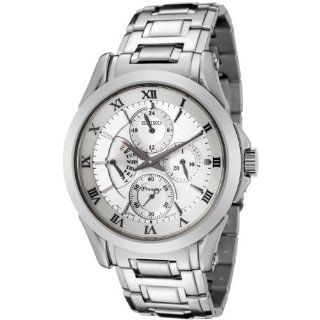 Seiko Men's SRL019 Premier Silver Dial Stainless Steel Watch Seiko Watches