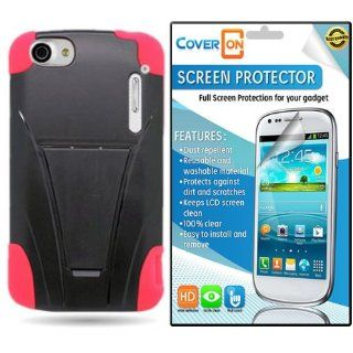 CoverON� Alcatel One Touch Ultra / Authority Kickstand Hard + Soft Dual Layer Hybrid Case Cover Bundle with Clear Anti Glare LCD Screen Protector   Black Plastic Red Silicone Cell Phones & Accessories