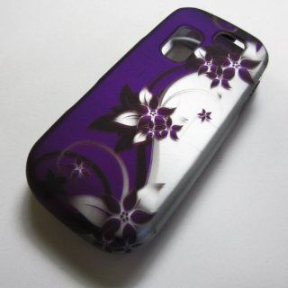RUBBERIZED HARD PHONE CASES COVERS SKINS SNAP ON FACEPLATE PROTECTOR FOR SAMSUNG SGH T404G STRAIGHT TALK NET10 TRACFONE  OR GRAVITY 2 II SGH T469 T.MOBILE Slide / PURPLE VINE AND SILVER(WHOLESALE PRICE) Cell Phones & Accessories