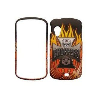 Samsung Stratosphere i405 i 405 Black with Red Flame Fire Steel Cross Skull Choppers Design Snap On Hard Protective Cover Case Cell Phone Cell Phones & Accessories