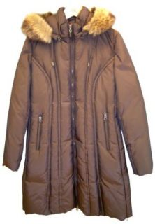 AK Anne Klein Women's Hooded Long Quilted Down Jacket, Bronze, Medium