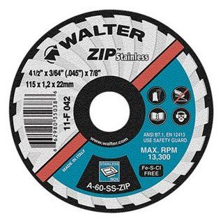 "Walter ZIP Stainless Superior Cutoff Wheel, Type 27, Round Hole, Aluminum Oxide, 5"" Diameter, 3/64"" Thick, 7/8"" Arbor, Grit A 60 SS ZIP (Pack of 25)"