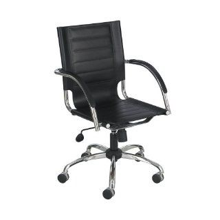 Safco SAF3456BL Flaunt Series Mid Back Manager's Chair Black Leather/Chrome, Black