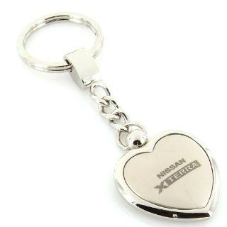 Nissan Xterra Satin/Chrome Two Tone Heart Shape Keychain Automotive