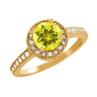 1.30 Ct Round Canary Mystic Topaz White Sapphire 18K Yellow Gold Ring Jewelry