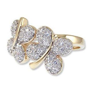 14k Yellow Gold, Fancy Good Luck Four Leaf Clovers Design Ring with Brilliant Lab Created Gems Jewelry
