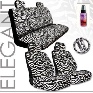 Brand New Yupbizauto Brand Premium Grade Zebra Print Front and Rear Seat Covers Set with Steering Wheel Cover and Seat Belt Covers and Purple Slice Total 12 Pieces Automotive