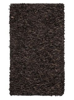 Safavieh LSG421D Leather Shag Collection Handmade Suede Leather Area Rug, 4 Feet by 6 Feet, Metro Dark Brown