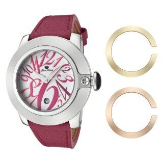 Glam Rock Women's GR32081 SoBe White Dial with Multi Colored Numerals Dark Pink Leather Watch Watches