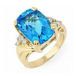 8.5 Ct Blue Topaz and Diamond Ring 14k Gold Passion Gems Jewelry