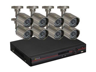 Q See QC448 818 5 8 Channel H.264 Level Surveillance DVR Kit, 8 x CCD Sensor Day/Night Wide Angle View Lens Outdoor Camera, Pre Installed 500GB HDD