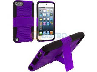 Black / Purple Hybrid Mesh Hard Silicone Case Skin Cover with Stand for Apple iPod Touch 5th Gen