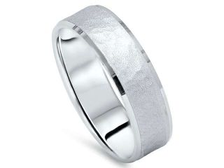 Hammered White Gold Mens Wedding Ring Brushed Matte Band FREE SIZING 10K Satin