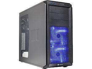 Corsair Graphite Series 230T CC 9011040 WW Grey on Black with BLUE LED fans ATX Mid Tower Computer Case