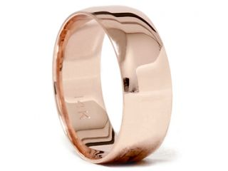 Flat 14K Rose Gold Plain High Polished Wedding Ring Mens Womens Band FREE SIZING