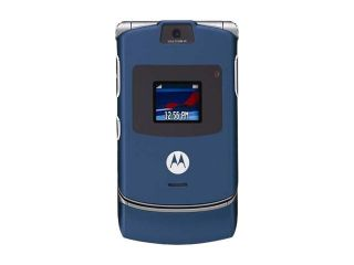 Motorola RAZR V3 Blue Unlocked Cell Phone Carrier Badge