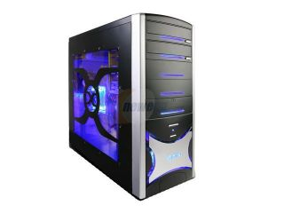 XION Solaris XON 404 Black with Blue LED Light Steel ATX Mid Tower Computer Case 450W Power Supply