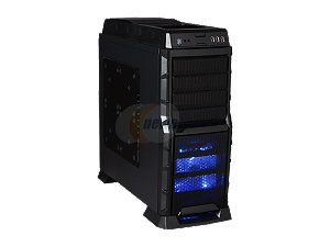 XION Gaming Series XON 990 BK Black with Blue LED Light Steel/ Plastic, Meshed Front Panel design. ATX Mid Tower Computer Case, USB 3.0
