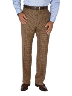 Paul Fredrick Mens 100% Wool Flannel Check Flat Front Pants